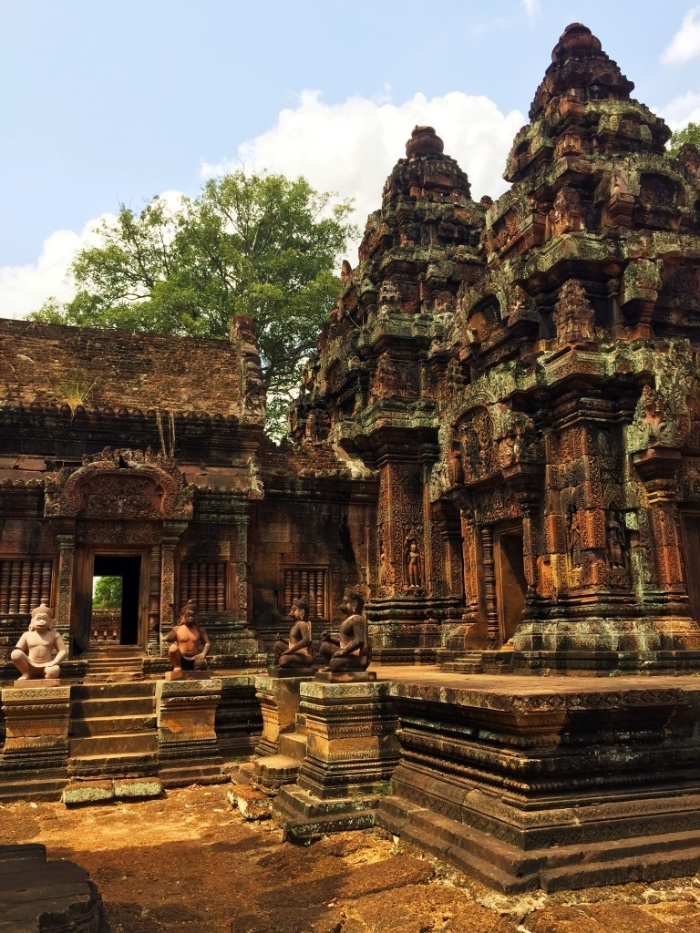 Intricate carvings line the towers of Banteay Srei