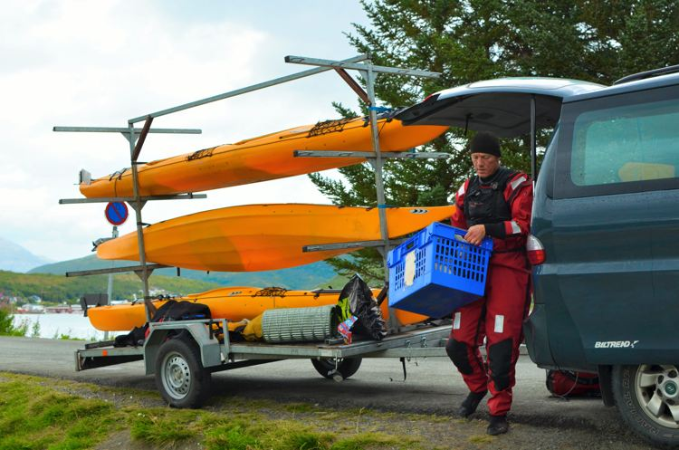 Our Kayak instructor Jacob unloads the kayaks as we embark on our sea-kayaking adventure