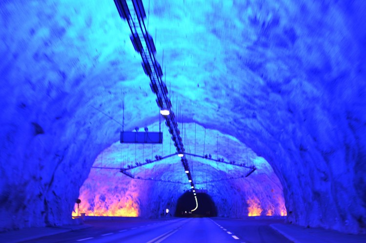 Psychedelic lights to break the monotony of the 24.5km long Laerdal Tunnel - the longest in the world!