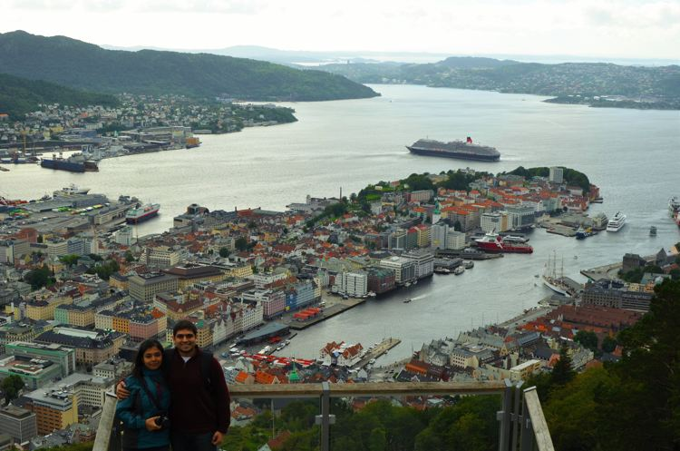 The town of Bergen as seen from Mount Floyen