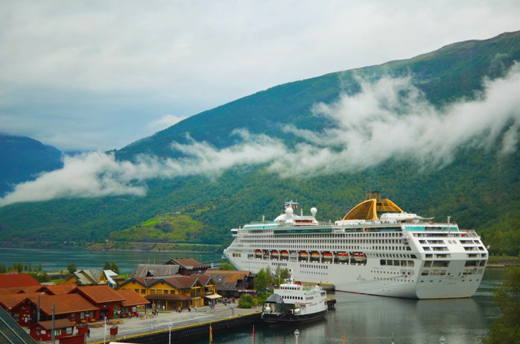 Cruise ship dwarfs the tiny town of Flam