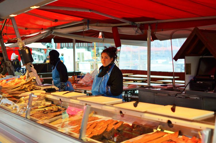Women selling fresh catch at Fisketorget, Bergen